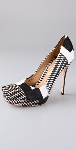 L.A.M.B. Juva Houndstooth Haircalf Pumps