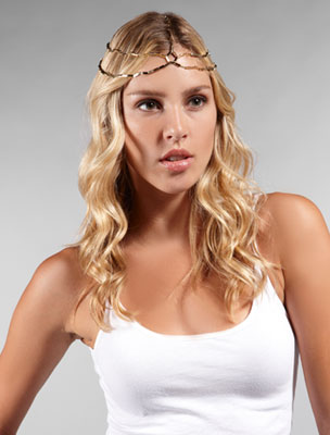 House of Harlow 3 Strand Triangle Bead Head Piece in Gold 100